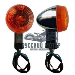Указатель поворота №02 оранжевое стекло, хром капля ,большой