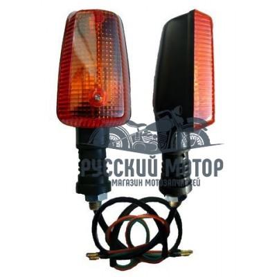 Указатель поворота №05 оранжевое стекло ,прямоугольный черный, лодочка, большой
