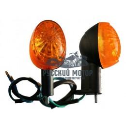 Указатель поворота №14 оранжевое стекло, овальный черный (2 штуки в комплекте) В-09 на стойке