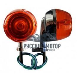 Указатель поворота №21 оранжевое стекло,хром,круглый,мопед Альфа ,Дельта