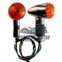 Указатель поворота №19 оранжевое стекло, капля, хром, резиновая стойка, маленькие (4 шт. в ком.)