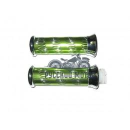 Ручки руля декоративные зеленые(ручка газа + левая)