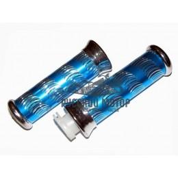 Ручки руля декоративные синие (ручка газа + левая)