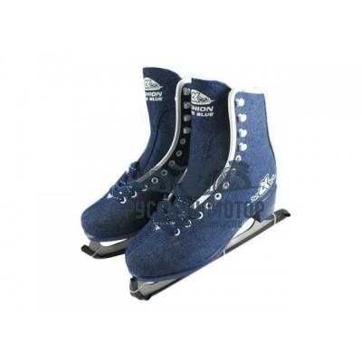 Коньки женские фигурные FASHION Blue JEANS 32 размер 50144