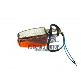 Указатель поворота №34 оранжевое стекло, прямоугольный хром, большой
