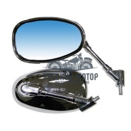 Зеркала заднего вида №17 пластик хром овал стойка с шарниром М8