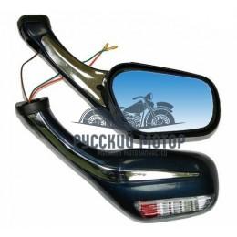 Зеркала заднего вида №28 пластик литой корпус синее с поворотом М8
