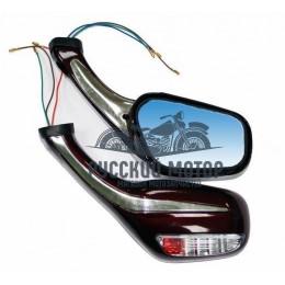 Зеркала заднего вида №25 пластик литой корпус красное с поворотом М8