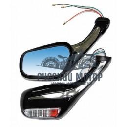 Зеркало №30 Скутер пластик литой корпус черное с поворотом М8