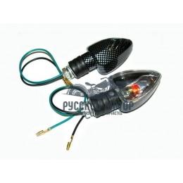 Указатель поворота №12 белое стекло, карбон, лепесток Скутер LT- 012