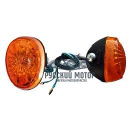 Указатель поворота №13 оранжевое стекло, овальный черный (2 штуки в комплекте) В-09