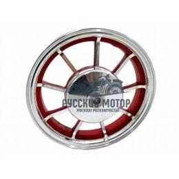 Диск колеса 10' Yamaha Jog задний, литой, барабанный тормоз красный