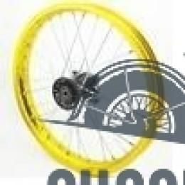 Диск колеса передний алюминиевый на спицах 1.40 - 14' цвет золото, дисковый тормоз ось 15мм Питбайк