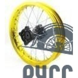 Диск колеса задний алюминиевый на спицах 1.85 - 12' цвет золотой, дисковый тормоз ось 15мм Питбайк
