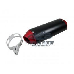 Глушитель эллипс черно-красный с кронштейном 32мм