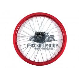 Диск колеса передний алюминиевый на спицах 1.60 - 17' цвет красный, дисковый тормоз ось 15мм Питбайк